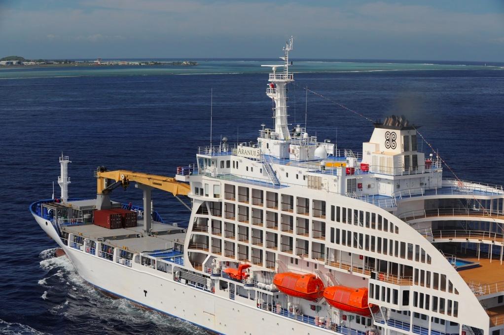 L'Aranui 5 est un cargo mixte : il transporte à la fois du fret et des passagers vers les îles Marquises ©Aranui 5