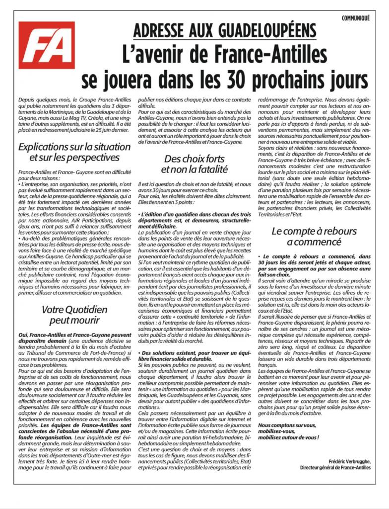 Un communiqué à l'attention des lecteurs du France-Antilles et du France -Guyane a été publié dans les trois quotidiens