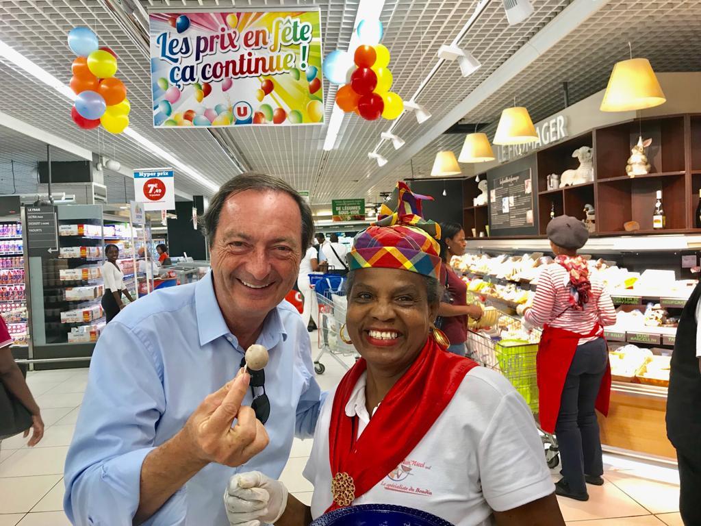Grande distribution en Outre-mer: Visite de Michel-Edouard Leclerc, PDG du groupe Leclerc aux Antilles