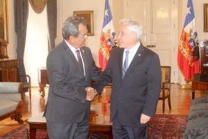 Le président polynésien a été reçu par le président chilien à Santiago, ce mercredi 4 septembre ©Présidence de la Polynésie française