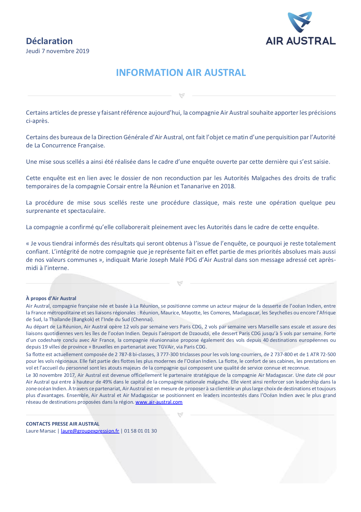 071119 Informations Air Austral