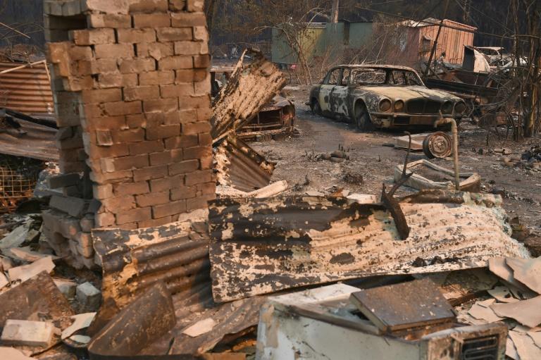 Une propriété détruite par les flammes à Old Bar en Australie, le 10 novembre ©Peter Parks / AFP