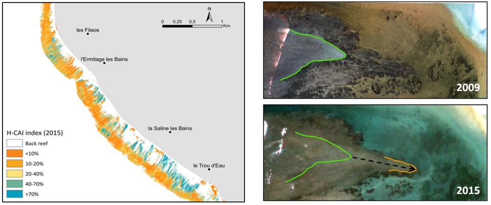 A gauche, cartographie par imagerie hyperspectrale de l'indice d'état de santé corallienne et à droite avancée d'une langue de débris.