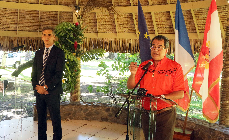 Le président Édouard Fritch et le Haut-commissaire Dominique Sorain lors d'un point presse coronavirus ©Présidence de la Polynésie