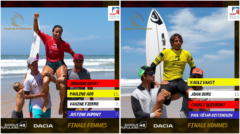 Surf : La Réunionnaise Johanne Defay et le Polynésien Kauli Vaast remportent la coupe de la Fédération