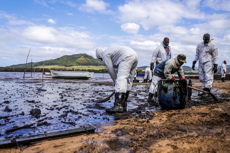 Plus de 1000 des 4000 tonnes de carburant transportées par le Wakashio se sont déjà déversées en mer, a indiqué Akihiko Ono, le vice-président de la Mitsui OSK Lines ©Daren Mauree / AFP