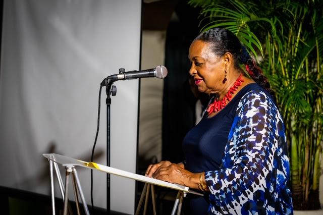 La Présidente du Conseil départemental de Guadeloupe Josette Borel-Lincertin  lors de la soirée de présentation de « Précieuse Guadeloupe » © HC Editions