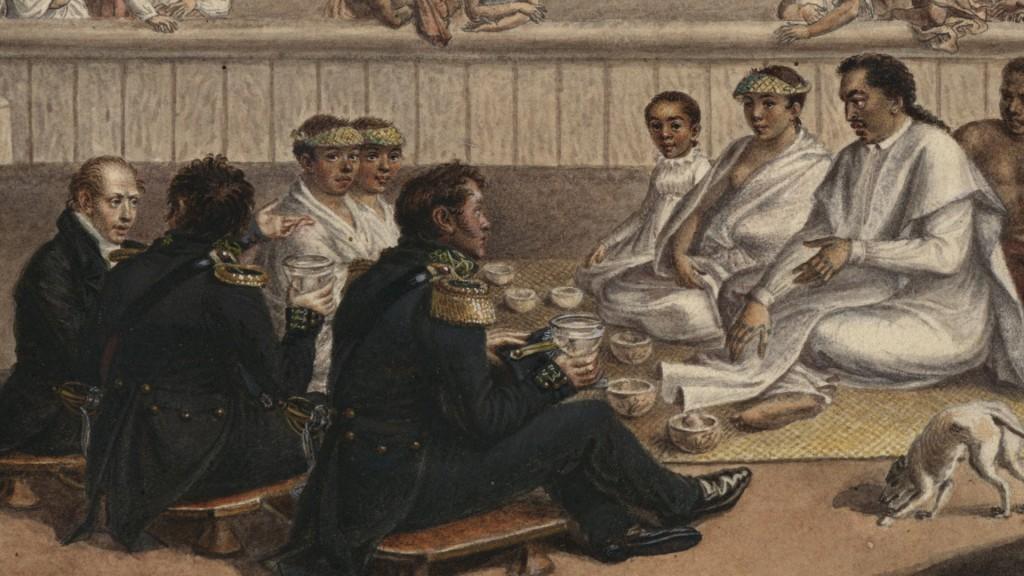 Rencontre de Bellingshausen avec les rois Pomare © DR