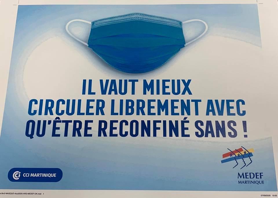 Martinique : Le MEDEF et la CCI lancent une campagne de prévention pour le port du masque